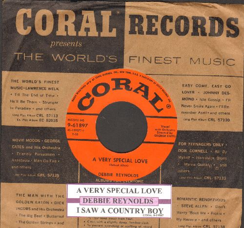 Reynolds, Debbie - A Very Special Love/I Saw A Country Boy (with juke box label and vintage Coral company sleeve) - EX8/ - 45 rpm Records