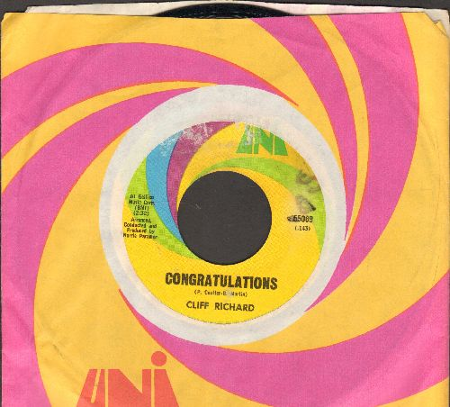 Richard, Cliff - Congratulations/High 'n' Dry (with Uni company sleeve) (minor wol) - EX8/ - 45 rpm Records