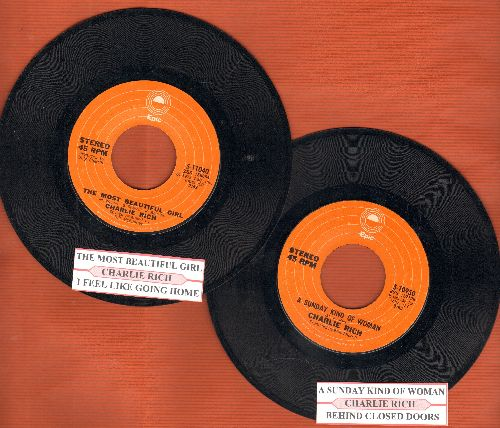 Rich, Charlie - 2 first issue 45rpm records with juke box labels for the price of one!: The Most Beautiful Girl/A Sunday Kind Of Woman (GREAT for a juke box or as a gift for a fan!) - EX8/ - 45 rpm Records