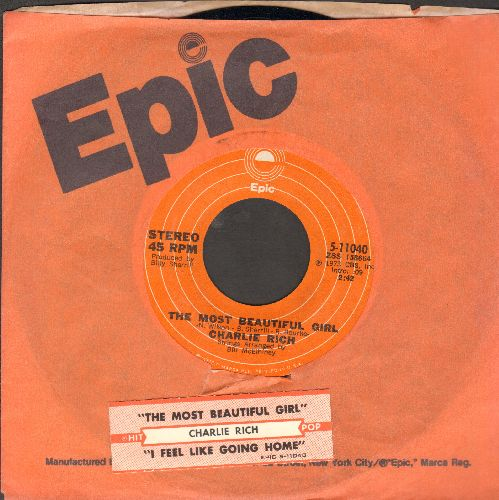 Rich, Charlie - The Most Beautiful Girl (In The World)/I Feel Like Going Home (with juke box label and Epic  company sleeve) - NM9/ - 45 rpm Records