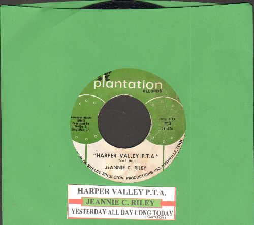 Riley, Jeannie C. - Harper Valley P.T.A. (Juke Box Favorite!)/Yesterday All Day Long Today  - VG7/ - 45 rpm Records