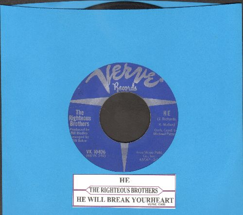 Righteous Brothers - He Will Break Your Heart/He (with juke box label) - VG6/ - 45 rpm Records