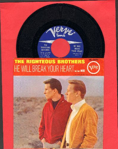 Righteous Brothers - He Will Break Your Heart/He (with picture sleeve, NICE condition!)  - EX8/EX8 - 45 rpm Records