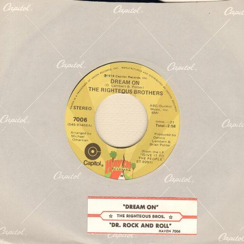 Righteous Brothers - Dream On/Dr. Rock And Roll - M10/ - 45 rpm Records