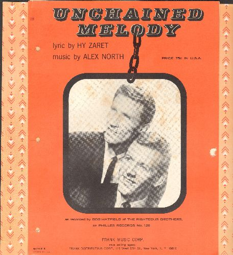 Righteous Brothers - Unchained Melody - SHEET MUSIC for the popular love ballad - BEAUTIFUL cover portrait of Righteous Brothers! (3-ring-binder holes on left)  - VG7/ - 45 rpm Records