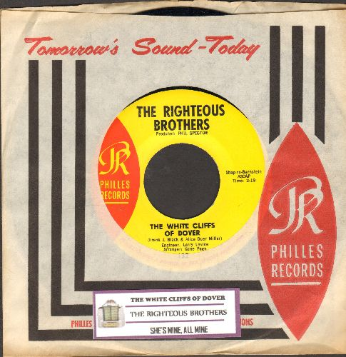 Righteous Brothers - The White Cliffs Of Dover/She's Mine, All Mine (with RARE Philles company sleeve and juke box label) - NM9/ - 45 rpm Records