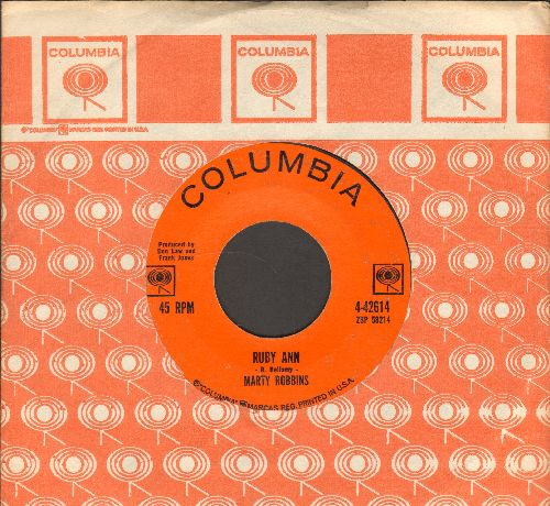 Robbins, Marty - Ruby Ann/Won't You Forgive (with Columbia company sleeve) - EX8/ - 45 rpm Records