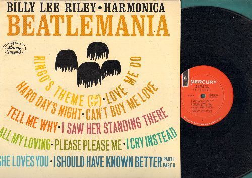 Riley, Billy Lee - Harmonica Beatlemania: She Loves You, Please Please Me, Tell Me Why, Hard Day's Night, Love Me Do (vinyl MONO LP record, 1964 first pressing) - NM9/EX8 - LP Records