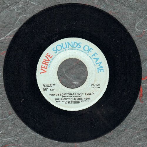Righteous Brothers - You've Lost That Lovin Feelin'/Georgia On My Mind (double-hit re-issue) - NM9/ - 45 rpm Records