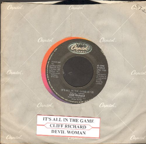 Richard, Cliff - It's All In The Game/Devil Woman (double-hit reissue with juke box label and Capitol company sleeve) - EX8/ - 45 rpm Records