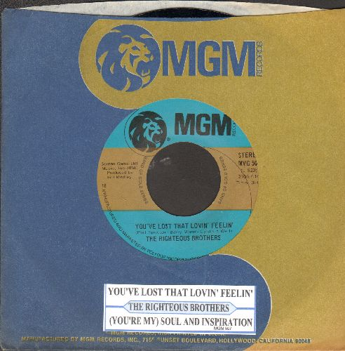 Righteous Brothers - You've Lost That Lovin Feelin'/(You're My) Soul And Inspiration (double-hit re-issue with juke box label and MGM company sleeve) - NM9/ - 45 rpm Records