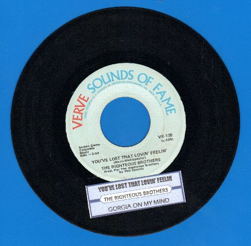 Righteous Brothers - You've Lost That Lovin Feelin'/Georgia On My Mind (double-hit re-issue with juke box label) - EX8/ - 45 rpm Records