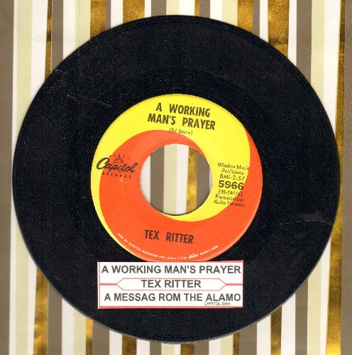 Ritter, Tex - A Message From The Alamo/A Working Man's Prayer (with juke box label) - NM9/ - 45 rpm Records