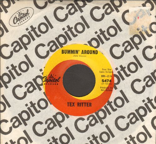 Ritter, Tex - Bummin' Around/Take Him Fishin' (FANTASTIC Vintage Country 2-sider!) (with Capitol company sleeve) - NM9/ - 45 rpm Records