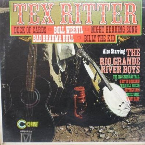 Ritter, Tex - Tex Ritter: Deck Of Cards, Billy The Kid, Boll Weevil, Wyatt Earp, Jesse James, Wild Bill Hickock (Vinyl MONO LP record) - NM9/EX8 - LP Records