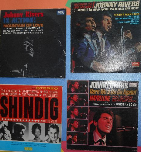 Rivers, Johnny - 4-Pack of vintage Johnny Rivers LPs includes Here We A Go Go Again!/In Action!/Shindig Vol 2/And I Know You Wanna Dance. All vinyl and covers are in very good or better condition. NICE set for a fan! - EX8/VG7 - LP Records