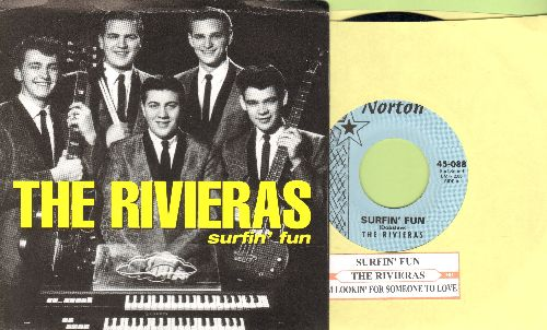 Rivieras - Surfin' Fun/I'm Lookin' For Someone To Love (re-issue of vintage Drag-Surf recordings with juke box label and picture sleeve) - M10/M10 - 45 rpm Records