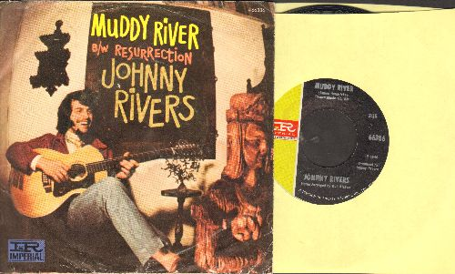 Rivers, Johnny - Muddy River/Resurrection (with juke box label and picture sleeve) - NM9/VG7 - 45 rpm Records