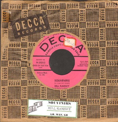 Ramsey, Bill - Souvenirs/Go, Man, Go (DJ advance pressing, US pressing sung in German, with vintage Decca company sleeve and juke box label) - NM9/ - 45 rpm Records