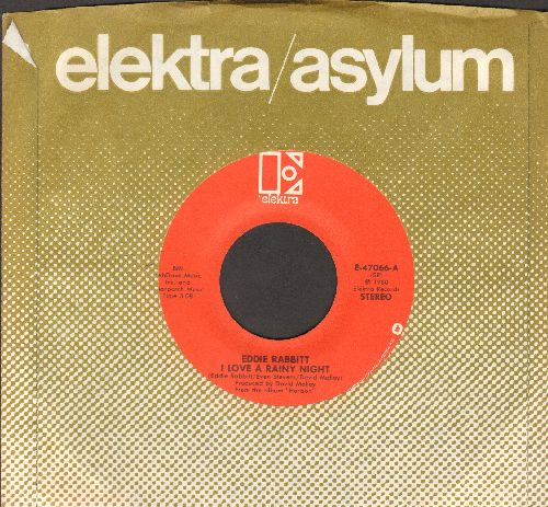Rabbitt, Eddie - I Love A Rainy Night/Short Road To Love (with Elektra company sleeve) - NM9/ - 45 rpm Records