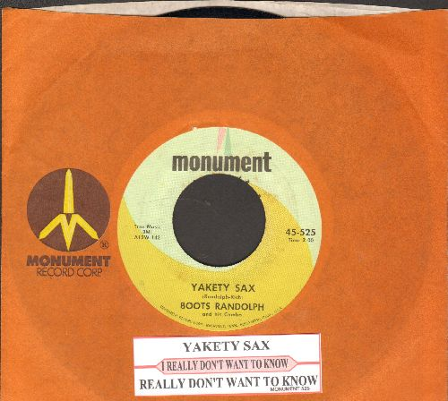 Randolph, Boots - Yakety Sax/I Really Don't Want To Know (with juke box label and  Monument company sleeve) - EX8/ - 45 rpm Records