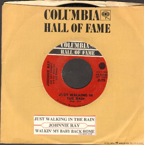 Ray, Johnnie - Just Walking In The Rain/Walking My Baby Back Home (double-hit re-issue with juke box label and Columbia company sleeve) - NM9/ - 45 rpm Records
