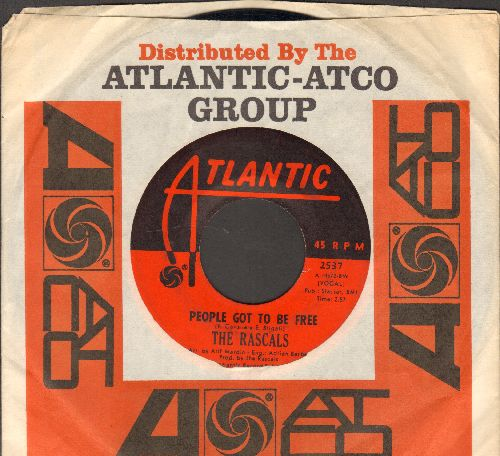 Rascals - People Got To Be Free/My World (with Atlantic company sleeve) - EX8/ - 45 rpm Records