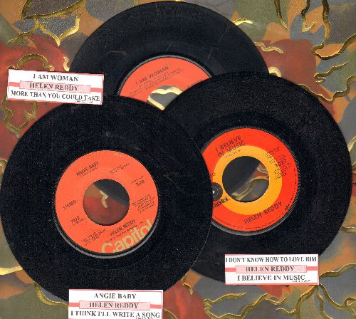 Reddy, Helen - 3-Pack of first pressings includes I Am Woman, Angie Baby and I Don't Know How To Love Him. Shipped in plain white sleeves with juke box labels! GREAT for a juke box! - EX8/ - 45 rpm Records