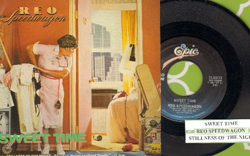 REO Speedwagon - Sweet Time/Stillness Of The Night (with juke box label and picture sleeve) - NM9/EX8 - 45 rpm Records