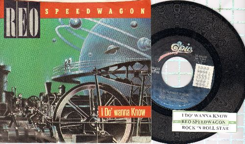 REO Speedwagon - I Do' Wanna Know/Rock 'N Roll Star (with juke box label and picture sleeve) - NM9/EX8 - 45 rpm Records
