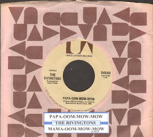 Rivingtons - Papa-Oom-Mow-Mom/Mama-Oom-Mow-Mor (double-hit reissue with juke box label and company sleeve) - NM9/ - 45 rpm Records