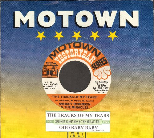 Robinson, Smokey & The Miracles - The Tracks Of My tears/Oo Baby Baby (double-hit re-issue with juke box label and company sleeve) - EX8/ - 45 rpm Records