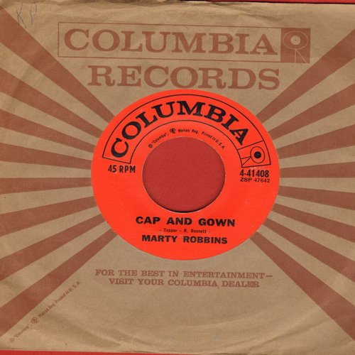 Robbins, Marty - Cap And Gown/Last Night About This Time (with vintage Columbia company sleeve) - NM9/ - 45 rpm Records