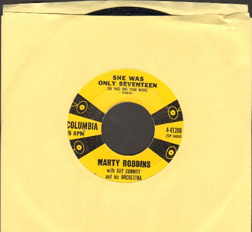 Robbins, Marty - She Was Only Seventeen (And He Was One Year More)/Sittin' In A Tree House - EX8/ - 45 rpm Records