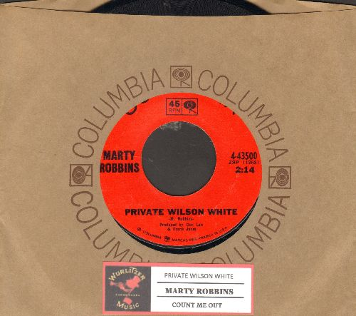 Robbins, Marty - Private Wilson White/Count Me Out (with juke box label and Columbia company sleeve) - NM9/ - 45 rpm Records