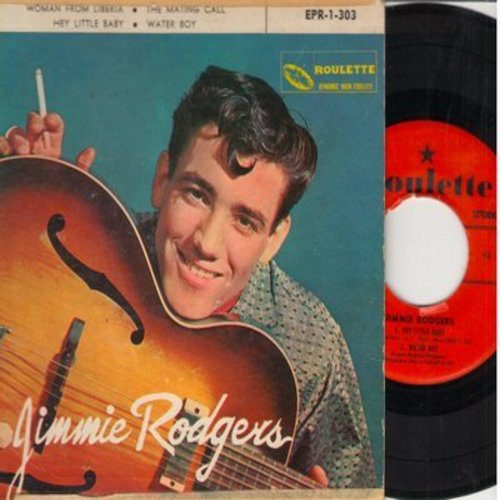Rodgers, Jimmie - Woman From Liberia/The Mating Call/Hey Little Baby/Water Boy (Vinyl EP record with picture cover) - EX8/VG6 - 45 rpm Records
