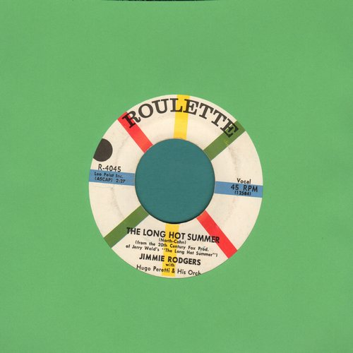 Rodgers, Jimmie - Long Hot Summer, The/Oh-Oh, I'm Falling In Love Again (with juke box label) - EX8/ - 45 rpm Records