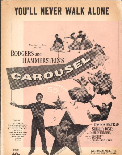 Rodgers & Hammerstein - You'll Never Walk Alone - Vintage SHEET MUSIC for the love theme from Broadway's -Carousel-, also legendary Anthem for British & German Football matches! - EX8/ - Sheet Music