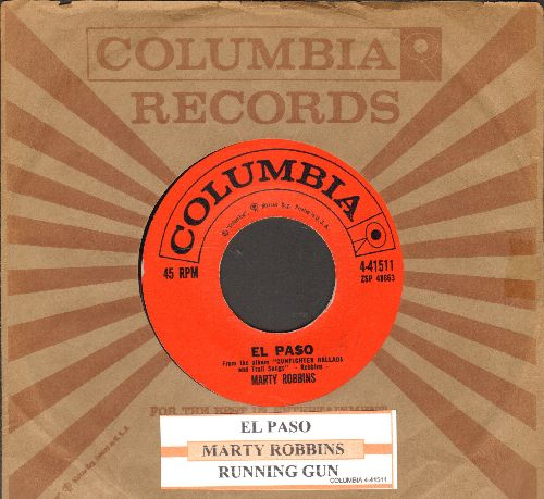 Robbins, Marty - El Paso/Running Gun (with juke box label and Columbia company sleeve) - NM9/ - 45 rpm Records