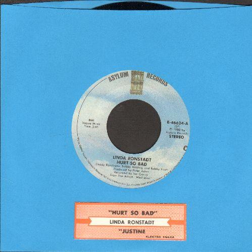 Ronstadt, Linda - Hurt So Bad/Justine (with juke box label) - NM9/ - 45 rpm Records