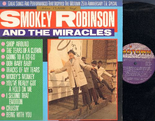 Robinson, Smokey & The Miracles - Motown Classic Vinyl: Shop Around, The Tears Of A Clown, Going To A Go-Go, Mickey's Monkey, Cruisin', Being With You (vinyl LP record) - EX8/EX8 - LP Records