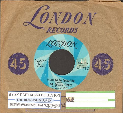 Rolling Stones - (I Can't Get No) Satisfaction/The Under Assistant West Coast Promotion Man (with juke box label and vintage London company sleeve) - EX8/ - 45 rpm Records