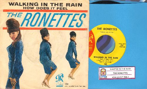 Ronettes - Walking In The Rain/How Does It Feel (with RARE picture sleeve and juke box label) - EX8/VG7 - 45 rpm Records