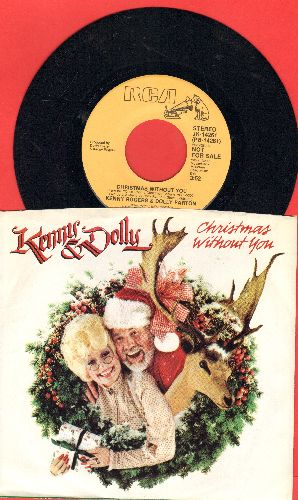 Rogers, Kenny & Dolly Parton - Christmas Without You (double-A-sided DJ advance pressing with RARE picture sleeve) - NM9/EX8 - 45 rpm Records