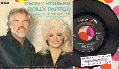 Rogers, Kenny & Dolly Parton - Islands In The Stream/I Will Always Love You (with juke box label and picture sleeve) - NM9/VG7 - 45 rpm Records