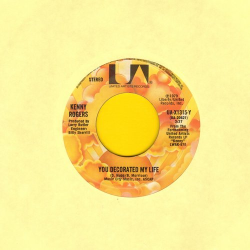 Rogers, Kenny - You Decorated My Life (COUNTRY SLOW-DANCE FAORITE!)/One Man's Woman - EX8/ - 45 rpm Records