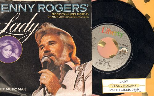Rogers, Kenny - Lady/Sweet Music Man (with juke box label and picture sleeve) - EX8/EX8 - 45 rpm Records