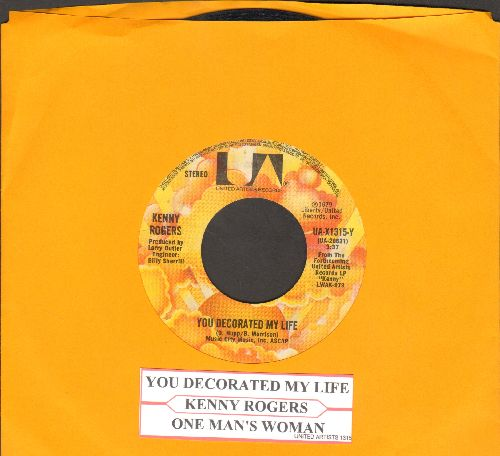 Rogers, Kenny - You Decorated My Life (COUNTRY SLOW-DANCE FAORITE!)/One Man's Woman (with juke box label) - EX8/ - 45 rpm Records