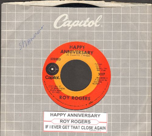 Rogers, Roy - Happy Anniversary/Levenworth (1970s issue of vintage recordings with company sleeve and juke box label) - NM9/ - 45 rpm Records