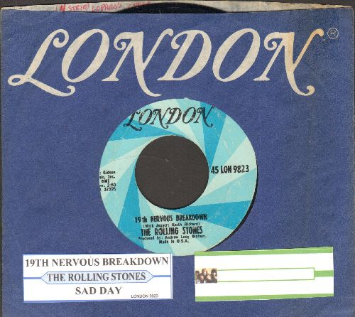 Rolling Stones - 19th Nervous Breakdown/Sad Day (with juke box label and company sleeve) - EX8/ - 45 rpm Records